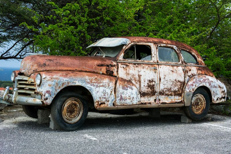 Damaged Vintage Car