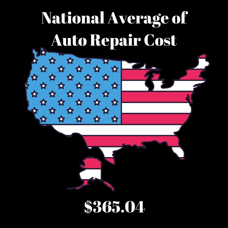 national average of auto repair costs
